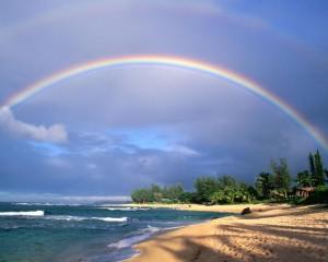 Rainbow over the Beach - скачать обои на рабочий стол