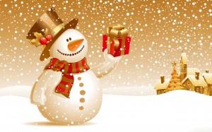 Desktop Wallpaper: White Snowman Illust...