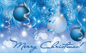 Desktop Wallpaper: Blue Christmas Baubl...