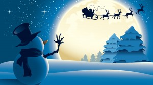 Desktop Wallpaper: Snowman Waving To Sa...