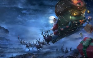 Desktop Wallpaper: Santa Claus Riding S...