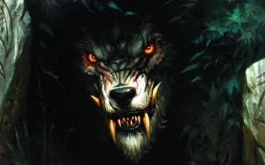 Orange Eyed Wolf Artwork - скачать обои на рабочий стол
