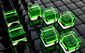 Desktop Wallpaper: Green 3D Cubes