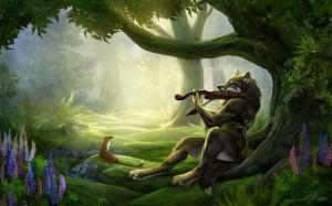 Desktop Wallpaper: Wolf In Woods Playin...