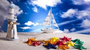 Desktop Wallpaper: White Sail Boat Deco...