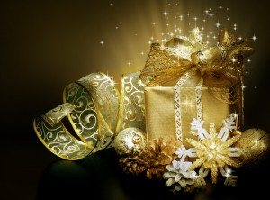 Desktop Wallpaper: Gold Christmas Prese...