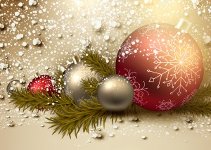 Desktop Wallpaper: Silver Christmas Bau...