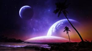 Desktop Wallpaper: Galaxy And Palm Tree...