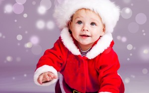 Desktop Wallpaper: Infant In Santa Clau...