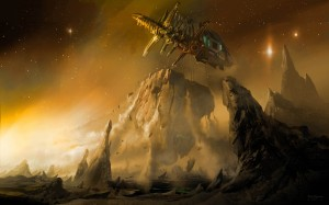 Desktop Wallpaper: Space Ship Nearing B...
