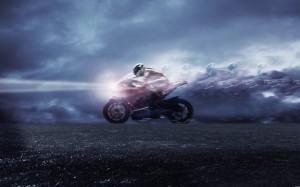 Desktop Wallpaper: Person Riding Red Bi...