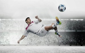 Desktop Wallpaper: Man Kicking Soccer B...