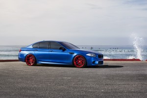 Desktop Wallpaper: Blue BMW Sedan On Ro...