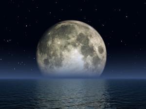 Desktop Wallpaper: Moon With Stars On S...