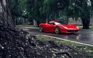 Desktop Wallpaper: Red Sports Car On We...
