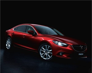 Desktop Wallpaper: Red Mazda Sedan On B...