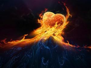 Desktop Wallpaper: Fiery Heart Graphic ...