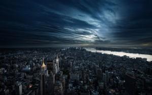 Desktop Wallpaper: Cloudy Sky Over City...