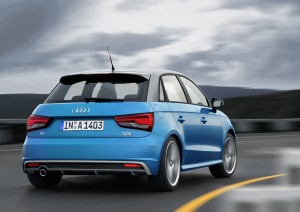 Desktop Wallpaper: Blue Audi Compact Ca...