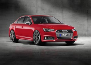 Desktop Wallpaper: Red Audi Sedan On Gr...