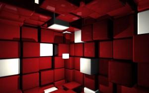 Desktop Wallpaper: Red White Geo Cubes ...