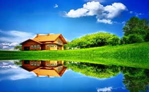 Brown House On Green Grass Hill By The River At Daytime - скачать обои на рабочий стол