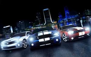 Desktop Wallpaper: 3 Muscle Cars On Bla...