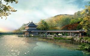 Desktop Wallpaper: Pagoda Beside River