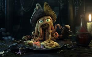 Desktop Wallpaper: Octopus Pirate In Bl...