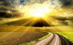 Desktop Wallpaper: Sunrise Over Green F...