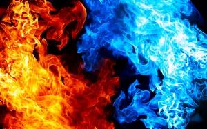 Desktop Wallpaper: Blue And Yellow Flam...