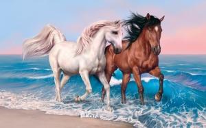 Desktop Wallpaper: White And Brown Hors...