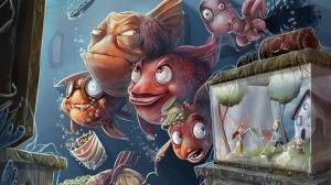 Desktop Wallpaper: School Of Fish Looki...