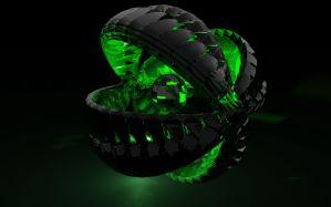 Desktop Wallpaper: Black and green acce...