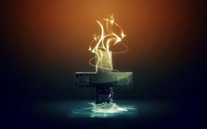Desktop Wallpaper: Burning cross illust...