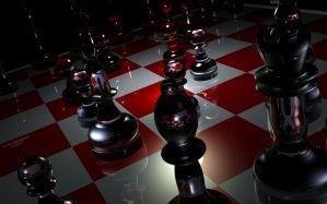 Desktop Wallpaper: Red white chess boar...