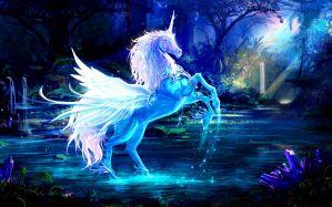 Desktop Wallpaper: White unicorn artwor...
