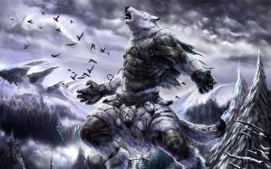 Desktop Wallpaper: Winter wolf artwork