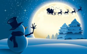 Desktop Wallpaper: Snowman waiving hand...
