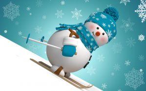 Desktop Wallpaper: Snowman skiing graph...