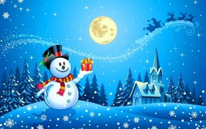 Snowman holding gift poster - скачать обои на рабочий стол