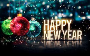Baubles Happy New Year graphic art - скачать обои на рабочий стол