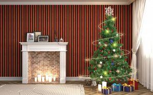 White and beige fireplace and Christmas tree decor - скачать обои на рабочий стол