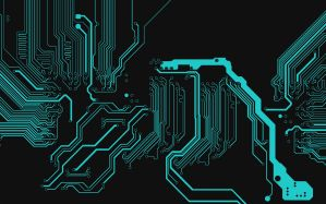 Desktop Wallpaper: Teal circuit diagram