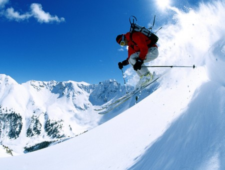 Spectacular Jump while Skiing