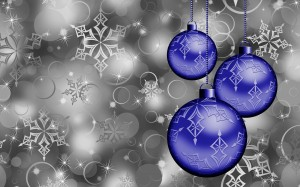 Desktop Wallpaper: Blue Christmas Balls