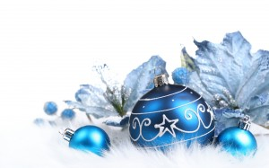 Desktop Wallpaper: Blue Christmas Ornam...