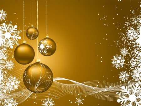 Golden And White Christmas Vector