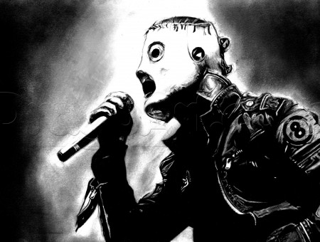 Man Holding Microphone While Wearing Mask Illustration