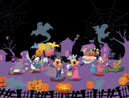 Disney Characters Celebrating Halloween